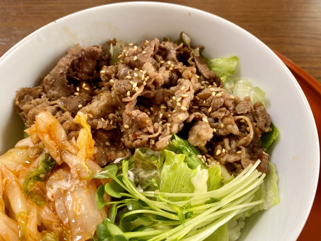 浜田山のエムズプレイスの牛カルビ焼き丼