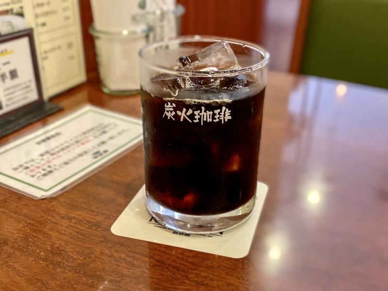 珈琲館浜田山店の炭火アイスコーヒー