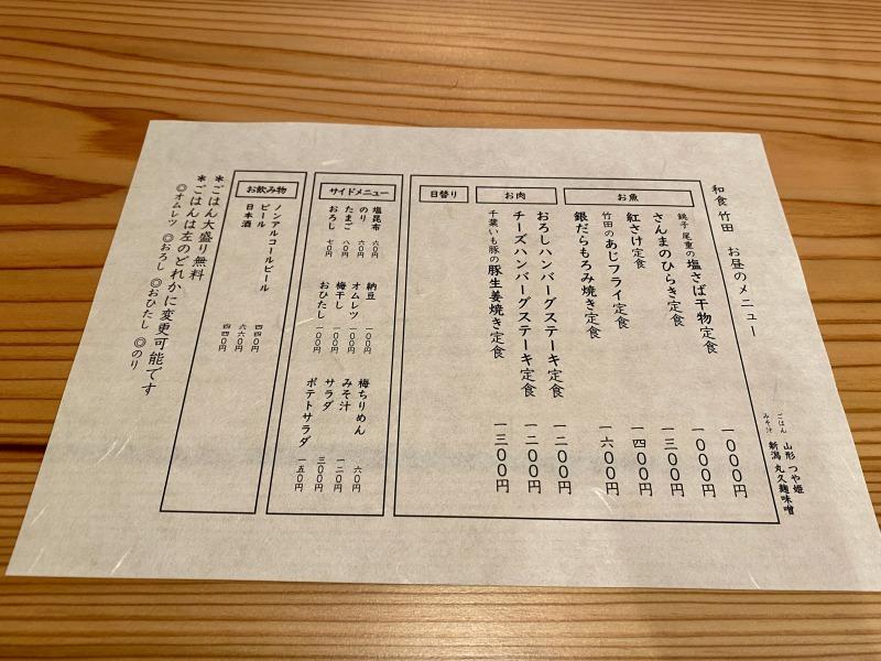 浜田山の和食竹田のメニュー